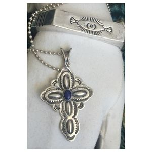 Navajo Stamped Sterling & Lapis Cross Necklace